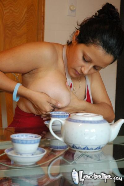 Squirting Boob Milk Into A Tea Cup To Wake Up In The Morning